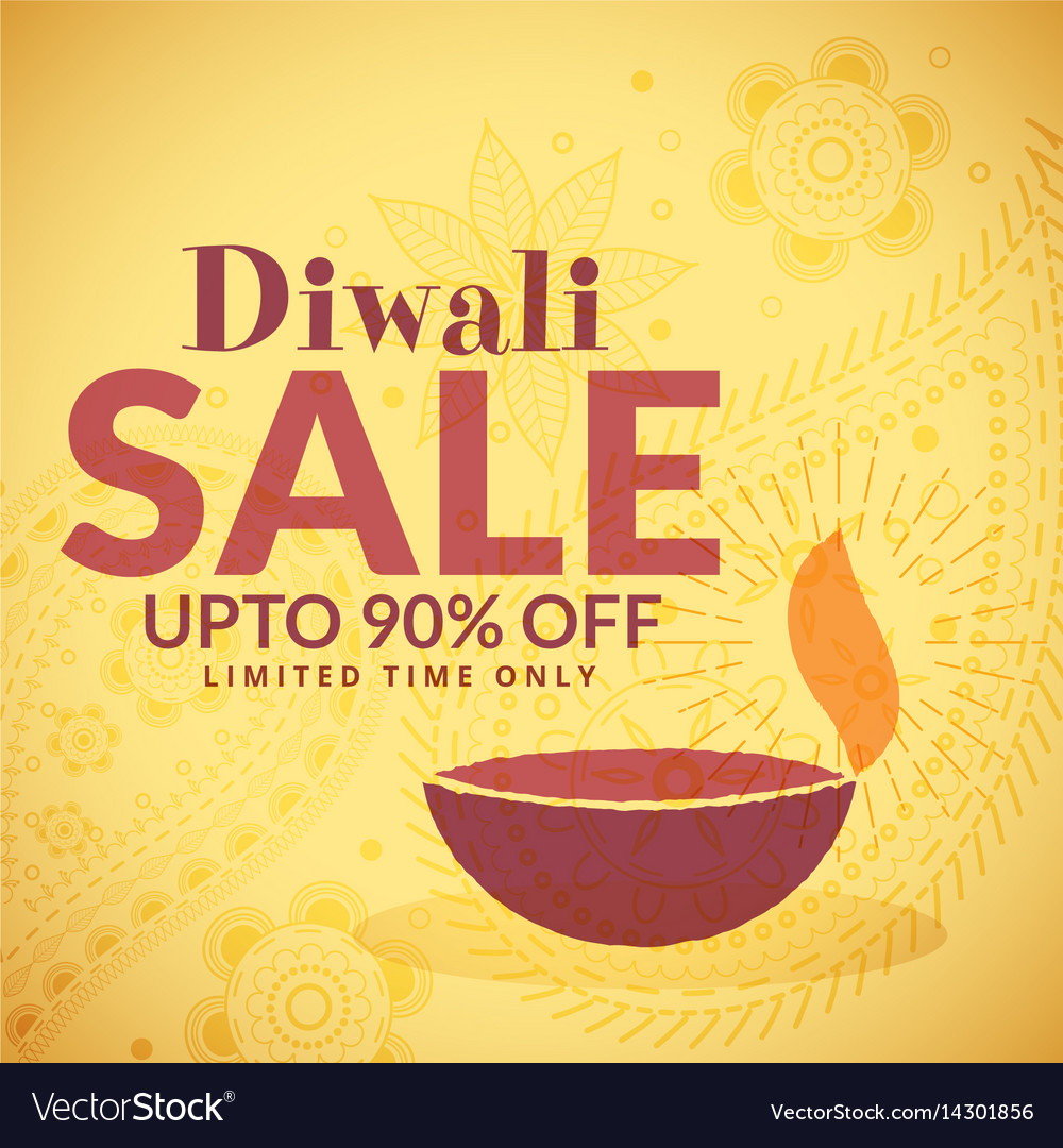 Diwali sale banner poster with diya