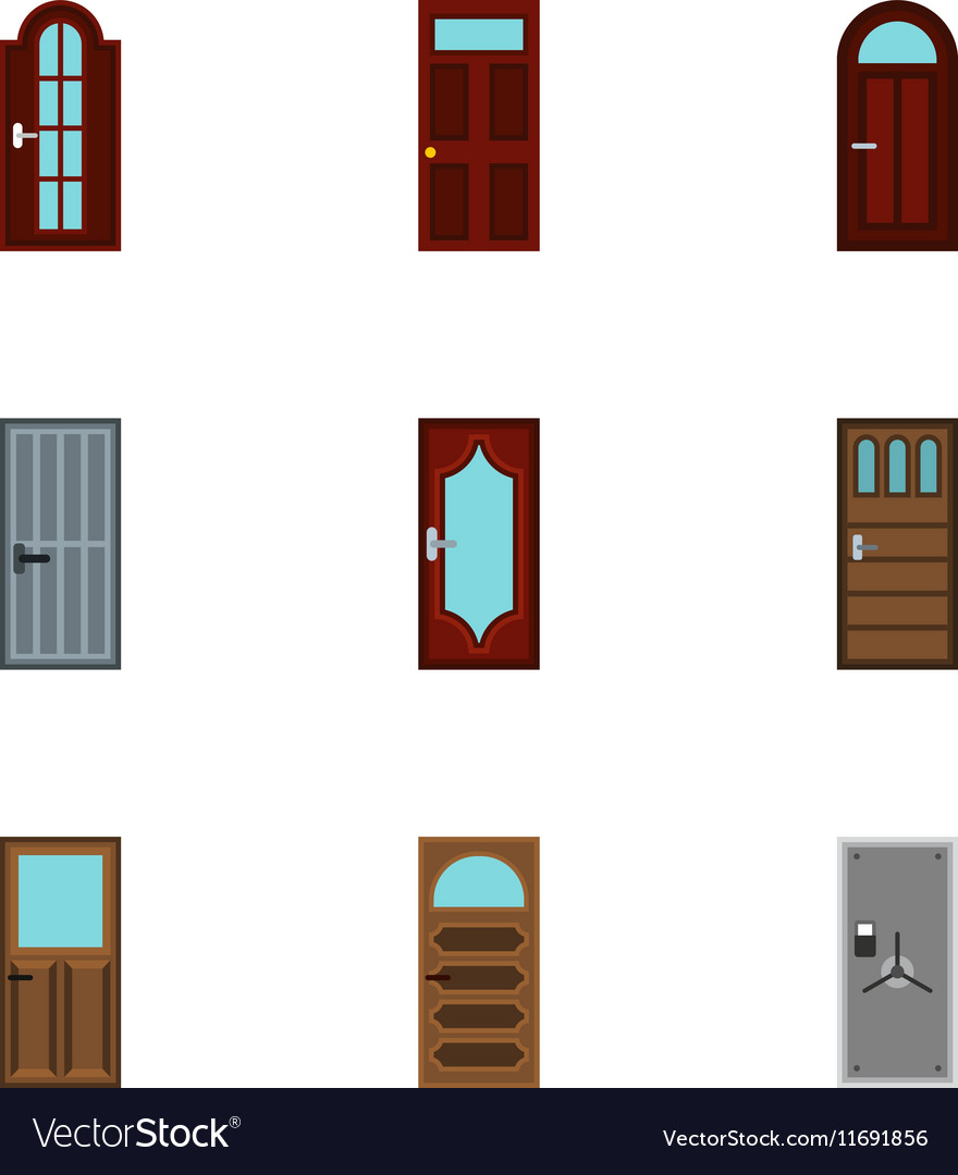 Exterior Doors Icons Set Flat Style Vector Image