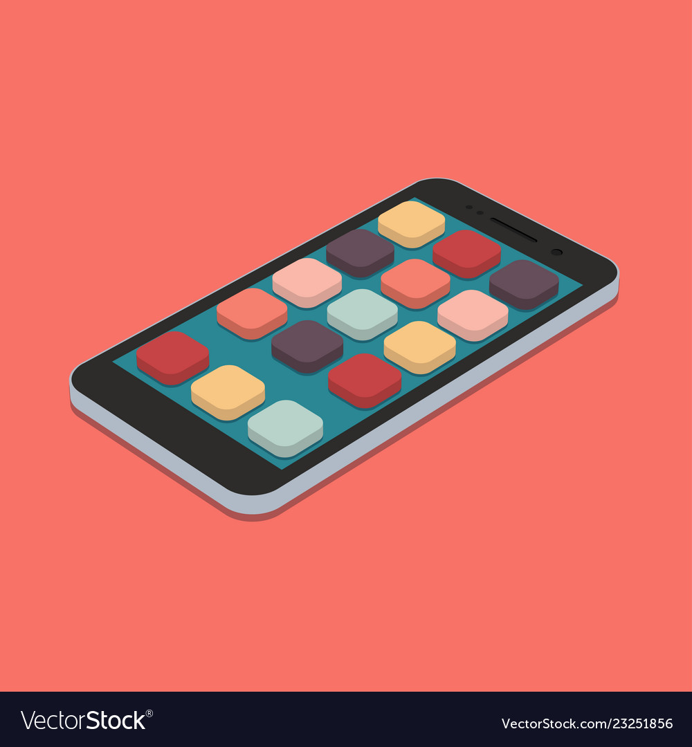 Flat smartphone with app icons set on coral color