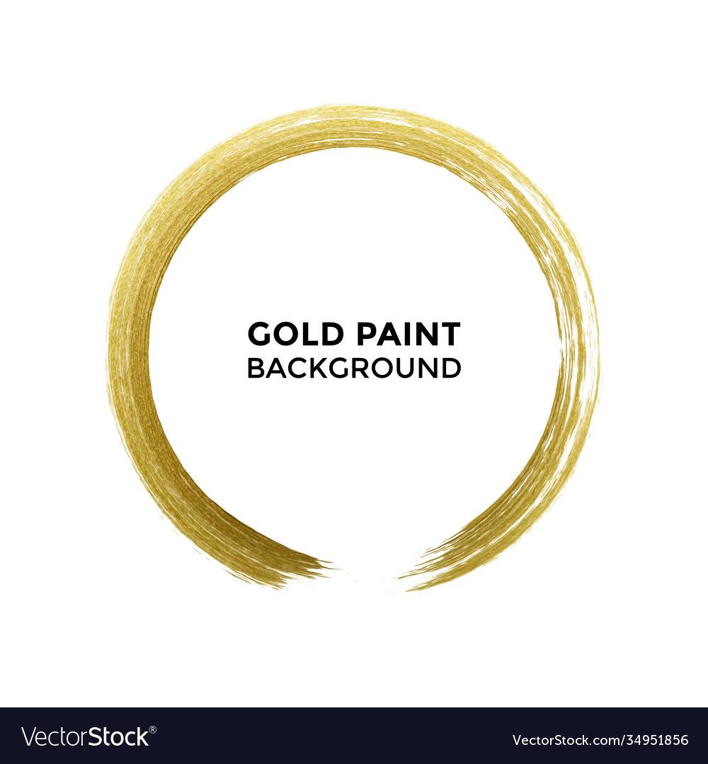 Gold circle glitter texture paint brush on white