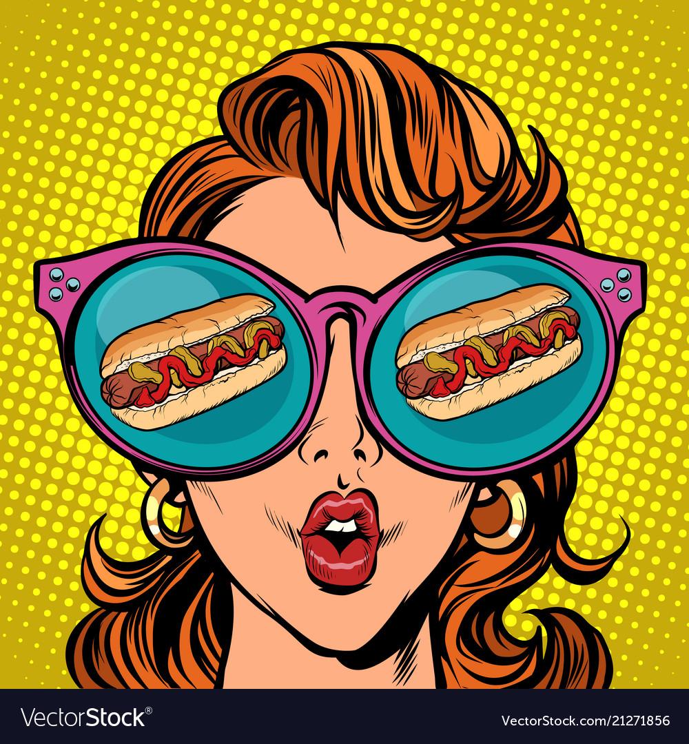 Hot dog sausage ketchup mustard woman reflection
