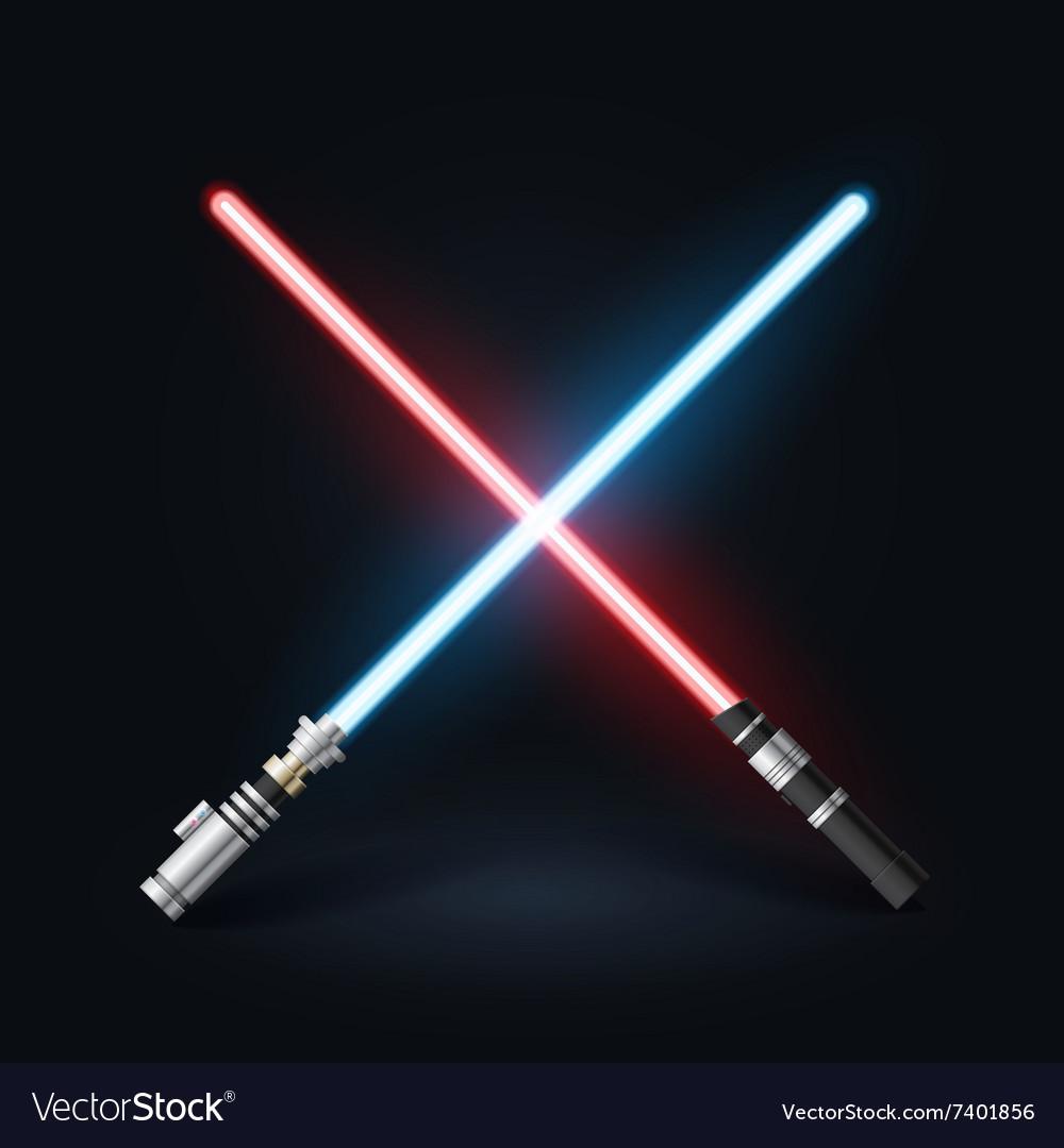 Light swords on dark background Star master weapon vector image