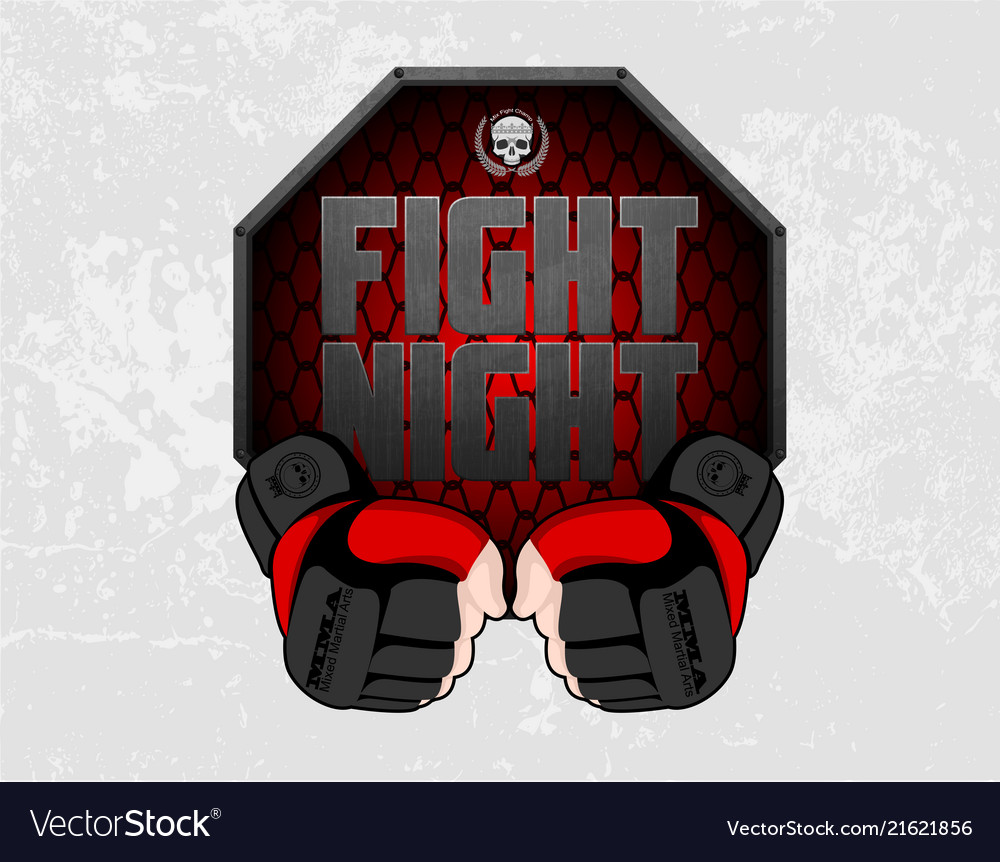 Mma gloves hands octagon stage cage poster mixed