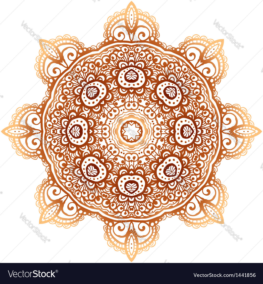 Ornate vintage beige doodle circle pattern