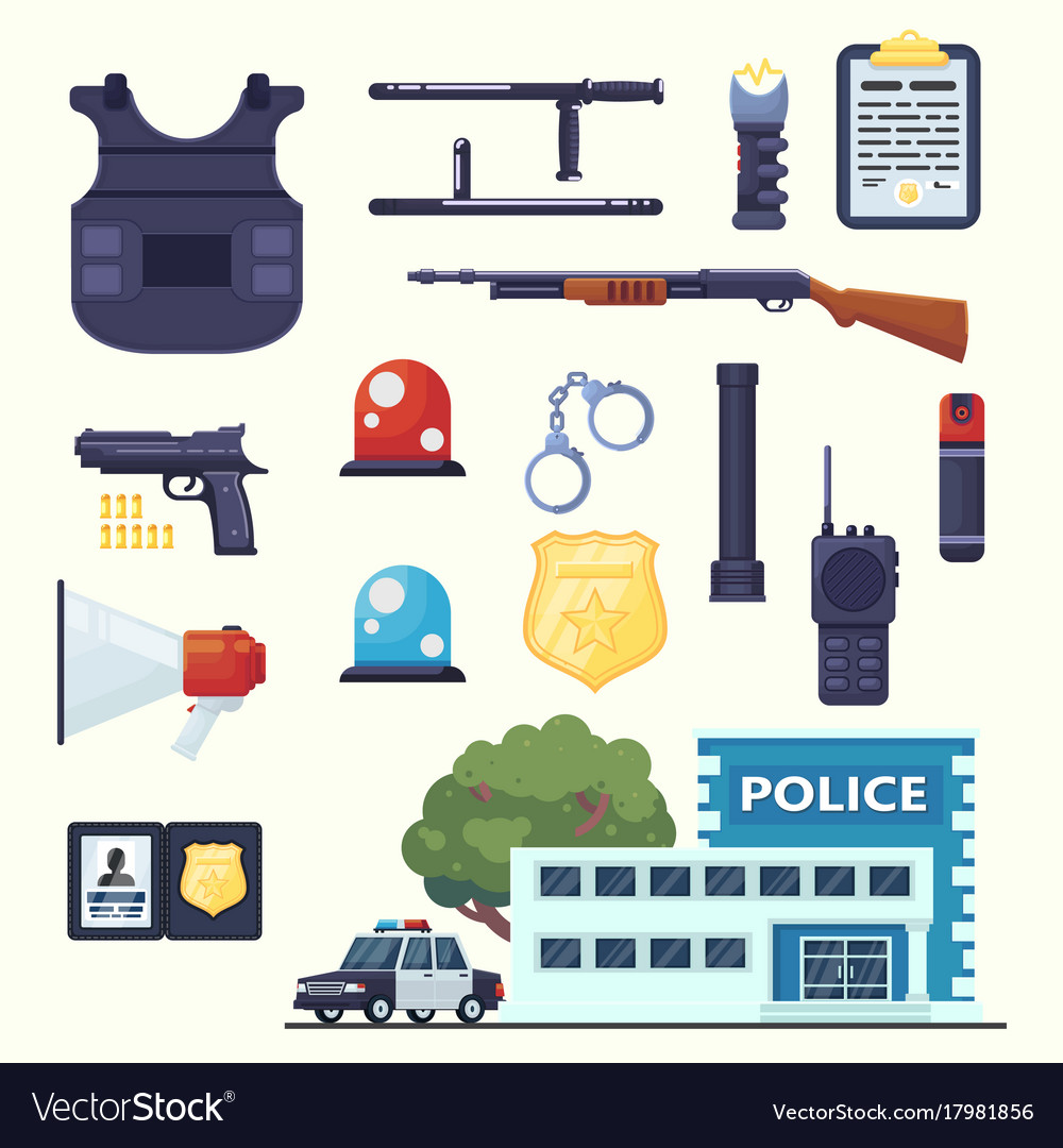 Police professional equipment set handcuffs