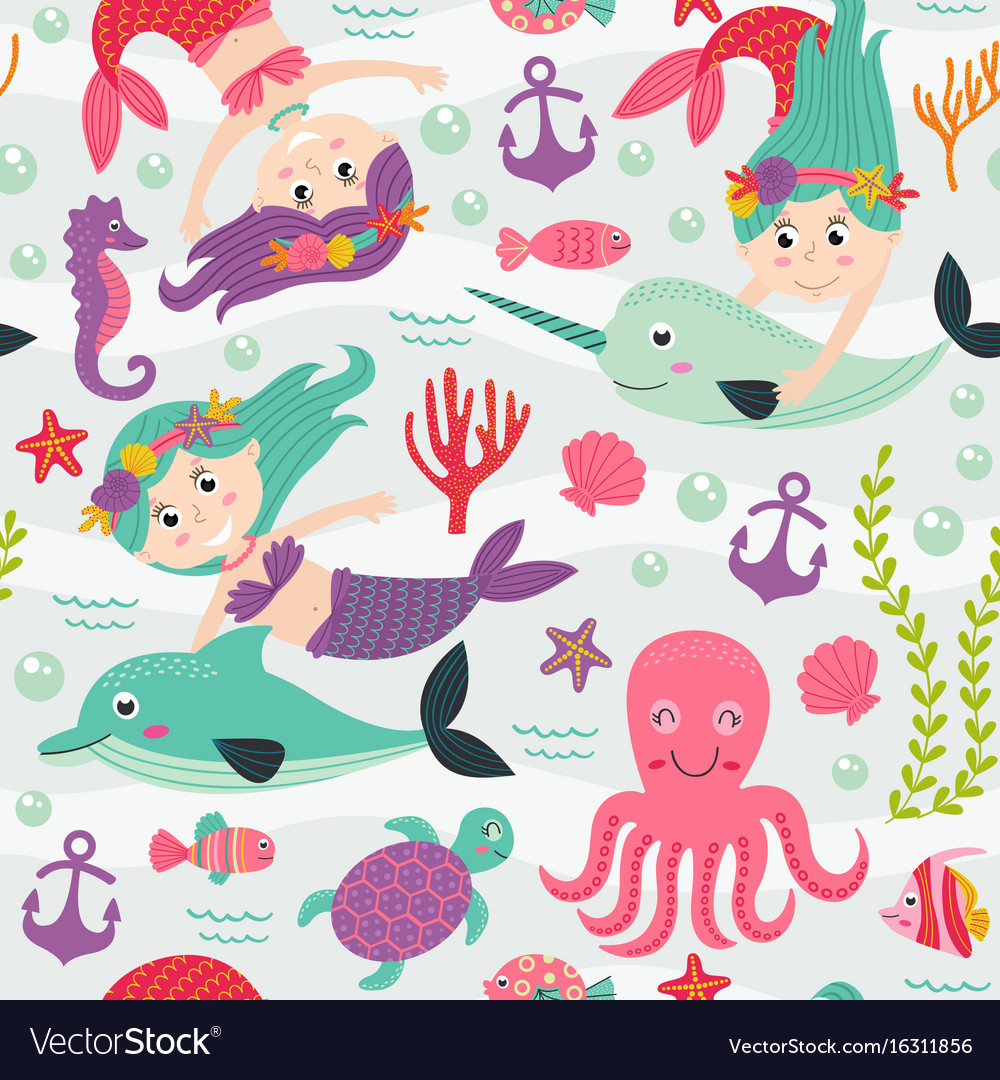 Seamless pattern with mermaid and marine animals