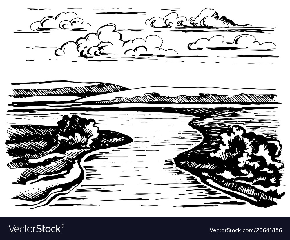 turning the river sketch royalty free vector image vectorstock