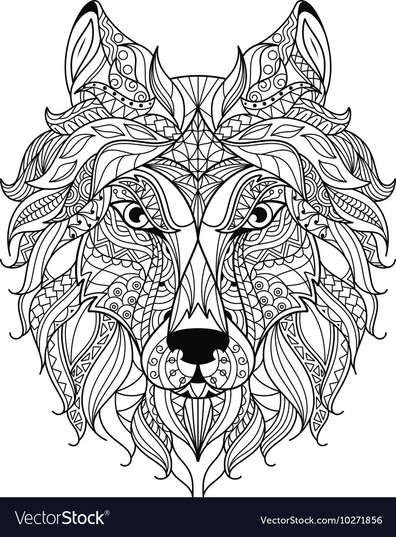 wolf zentangle stylized coloring page vector image