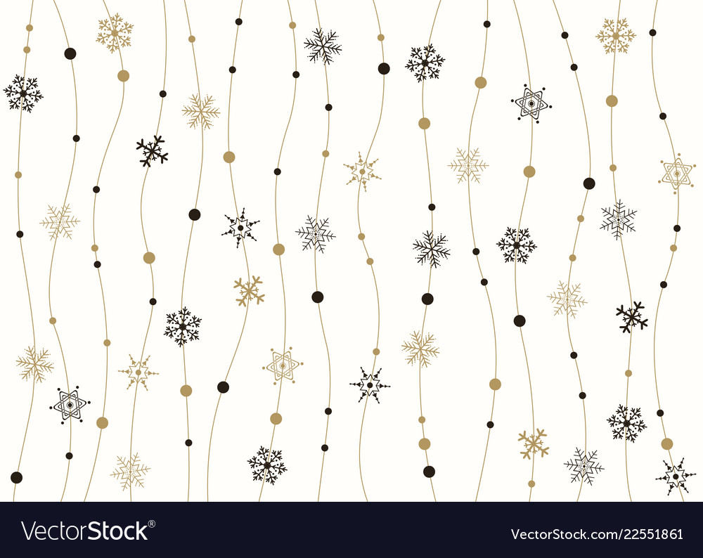 Abstract of snowflakes golden and black christmas