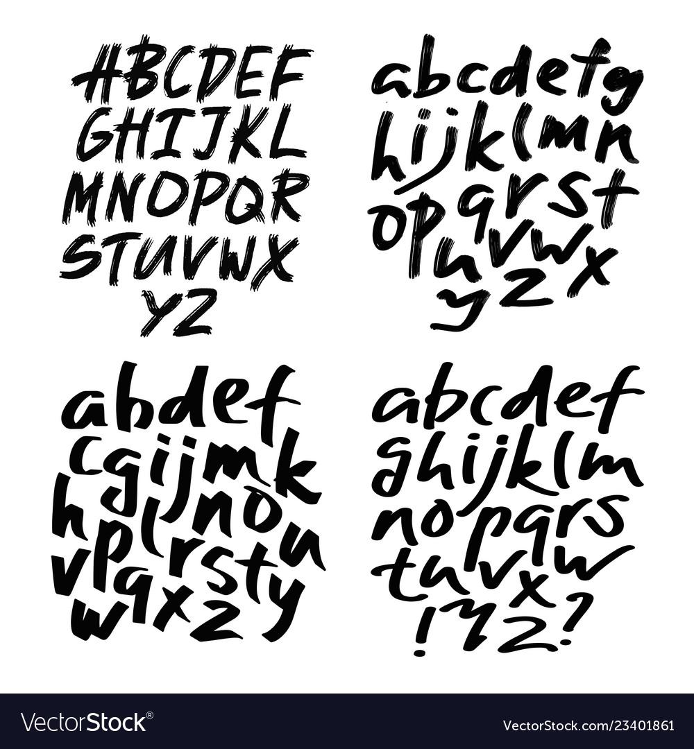Alphabet Lettersblack Handwritten Font Drawn