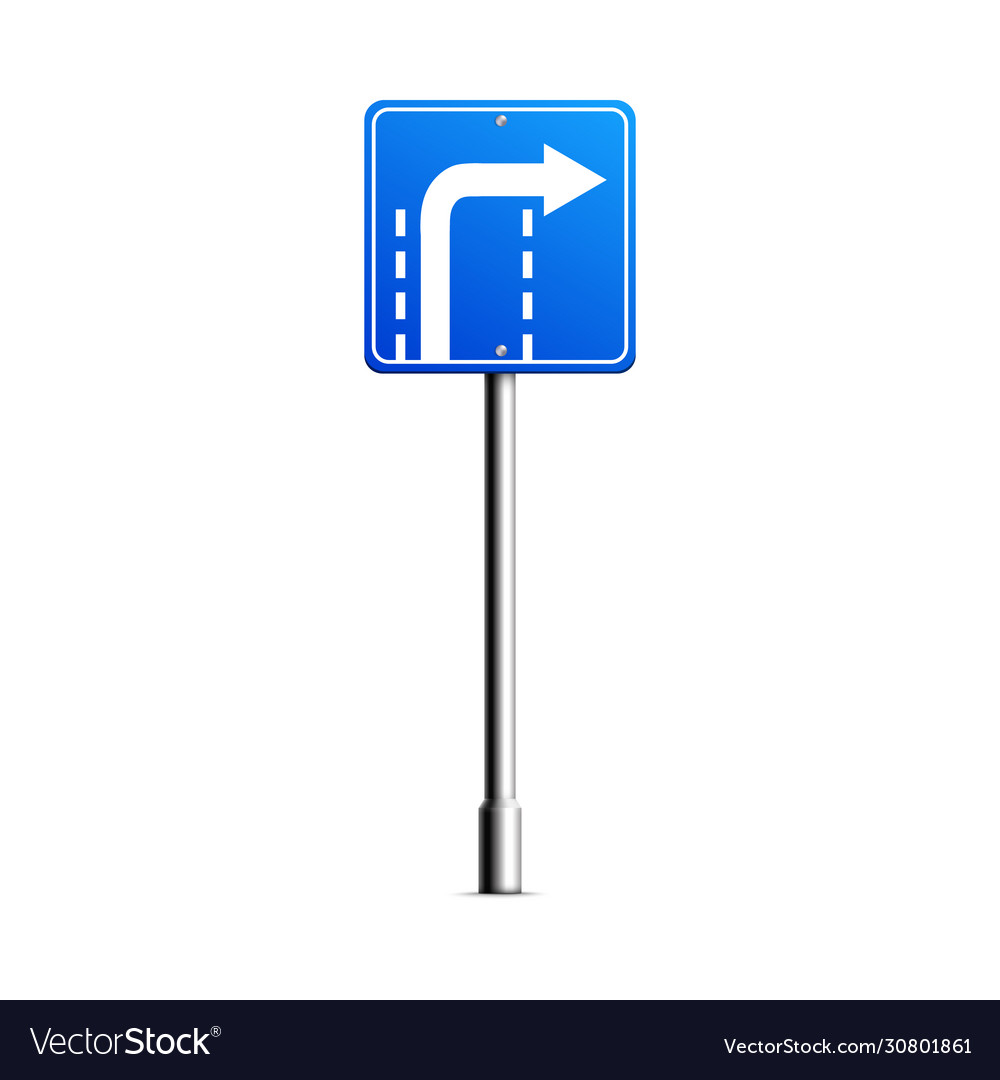 Blue turn right road sign with white arrow turning