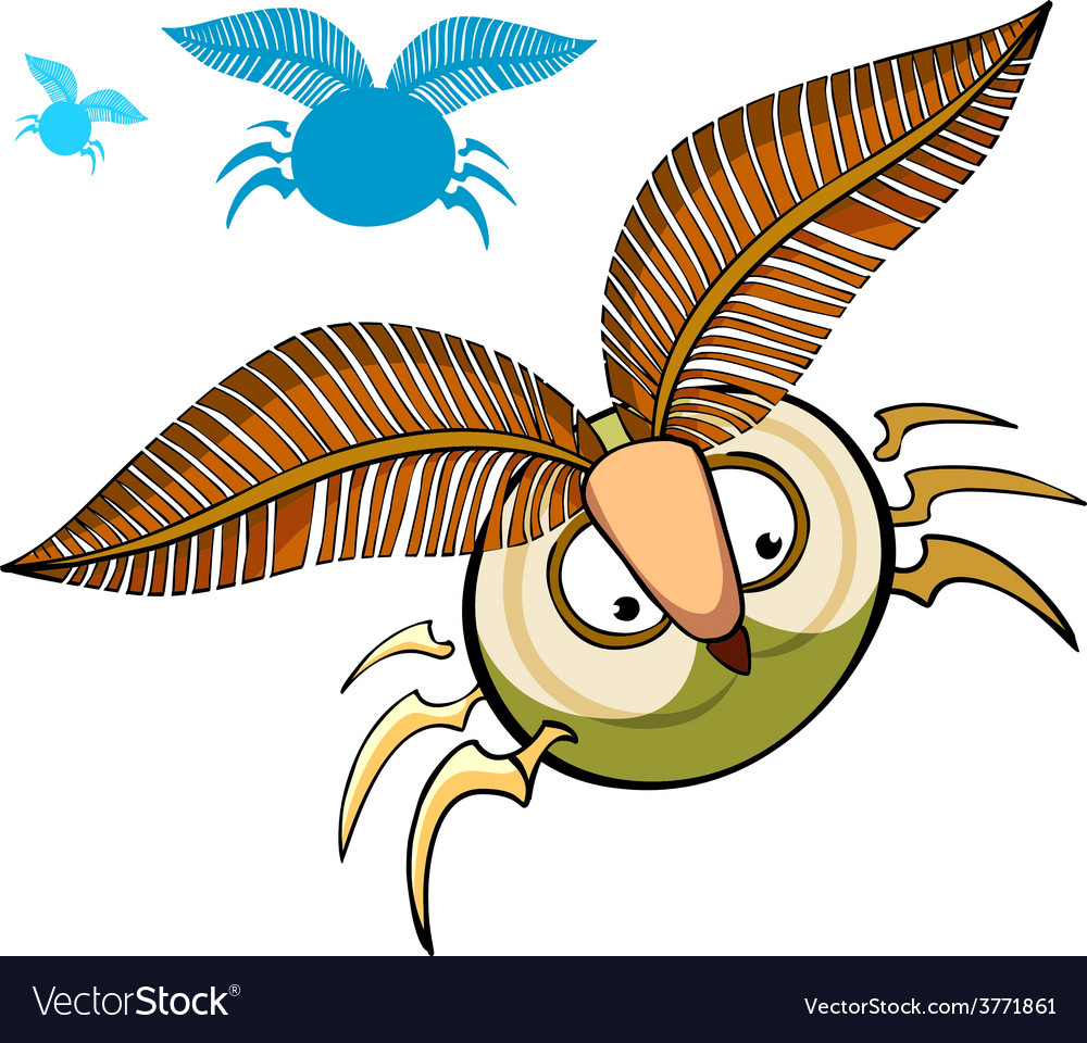 Cartoon insect with fluffy eyebrows