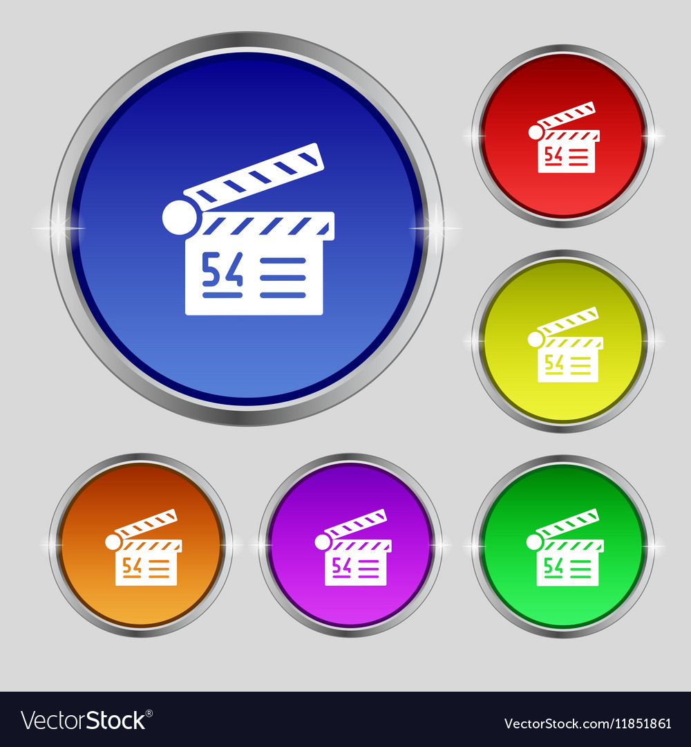 Cinema movie icon sign Round symbol on bright