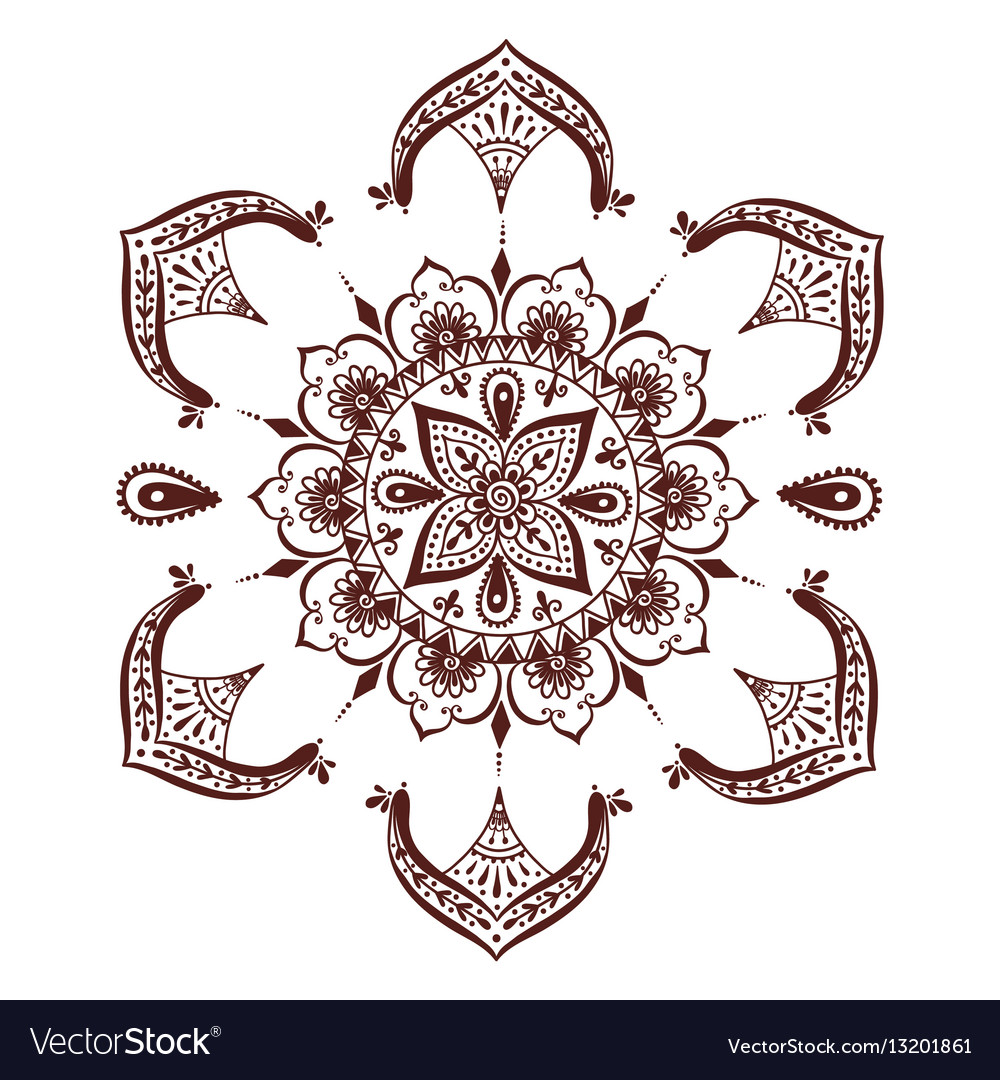 henna tattoo mehndi flower template royalty free vector