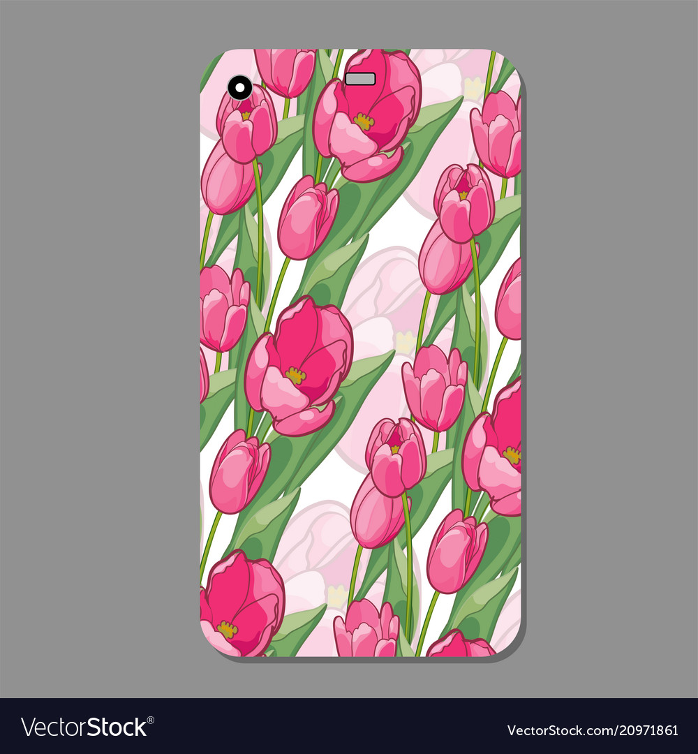 on sale eea6b 14afe Modern phone cover case with tulip seamless