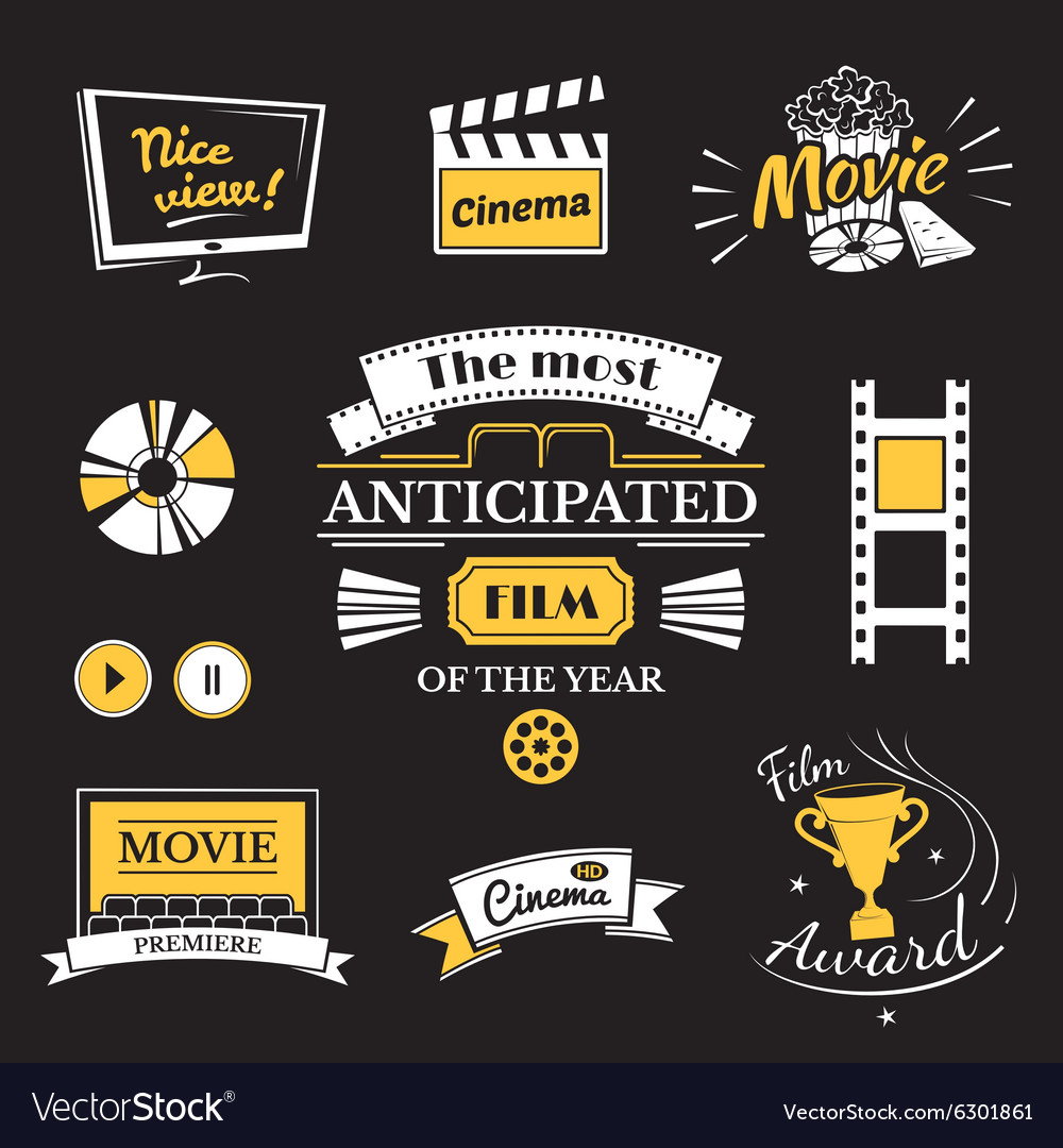 Movie signs set cinema logos and film labels