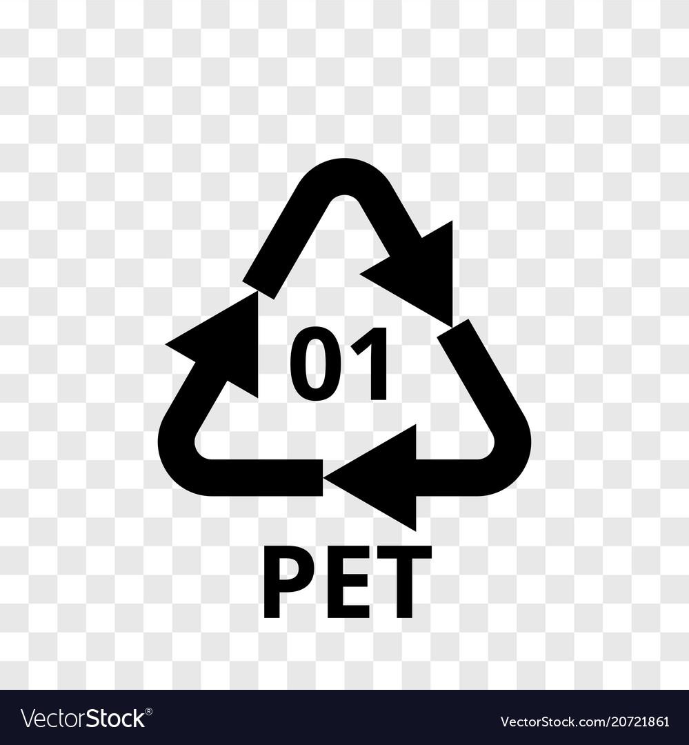 Pet recycling code plastic arrow icon