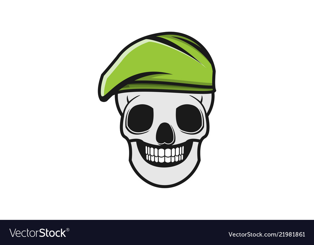Skull and green military hat logo designs