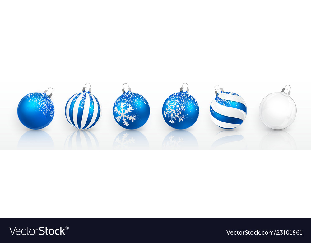 Transparent and blue christmas ball with snow