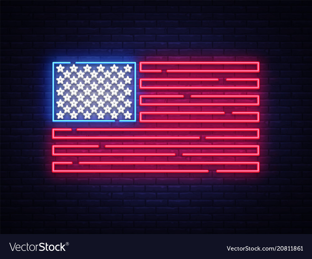 Usa flag neon sign night bright signboard