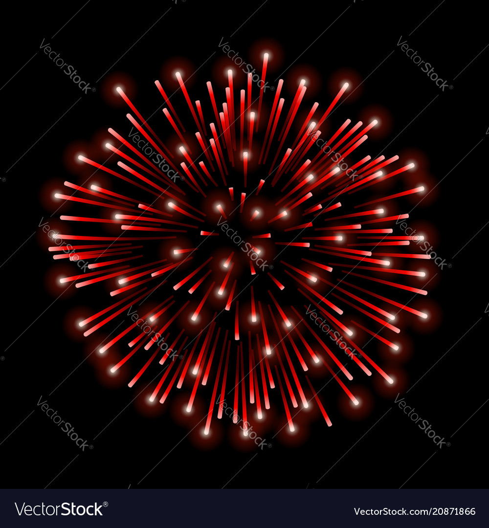 Beautiful red firework bright salute isolated on