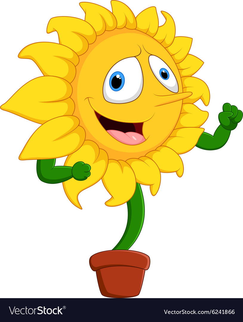 cartoon smile sunflower royalty free vector image rh vectorstock com sunflower cartoon background sunflower cartoon black and white