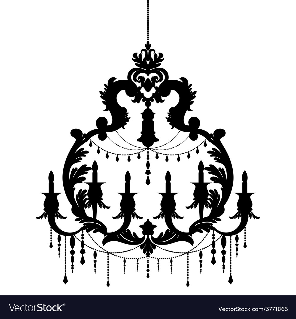Chandelier silhouette isolated on White background vector image