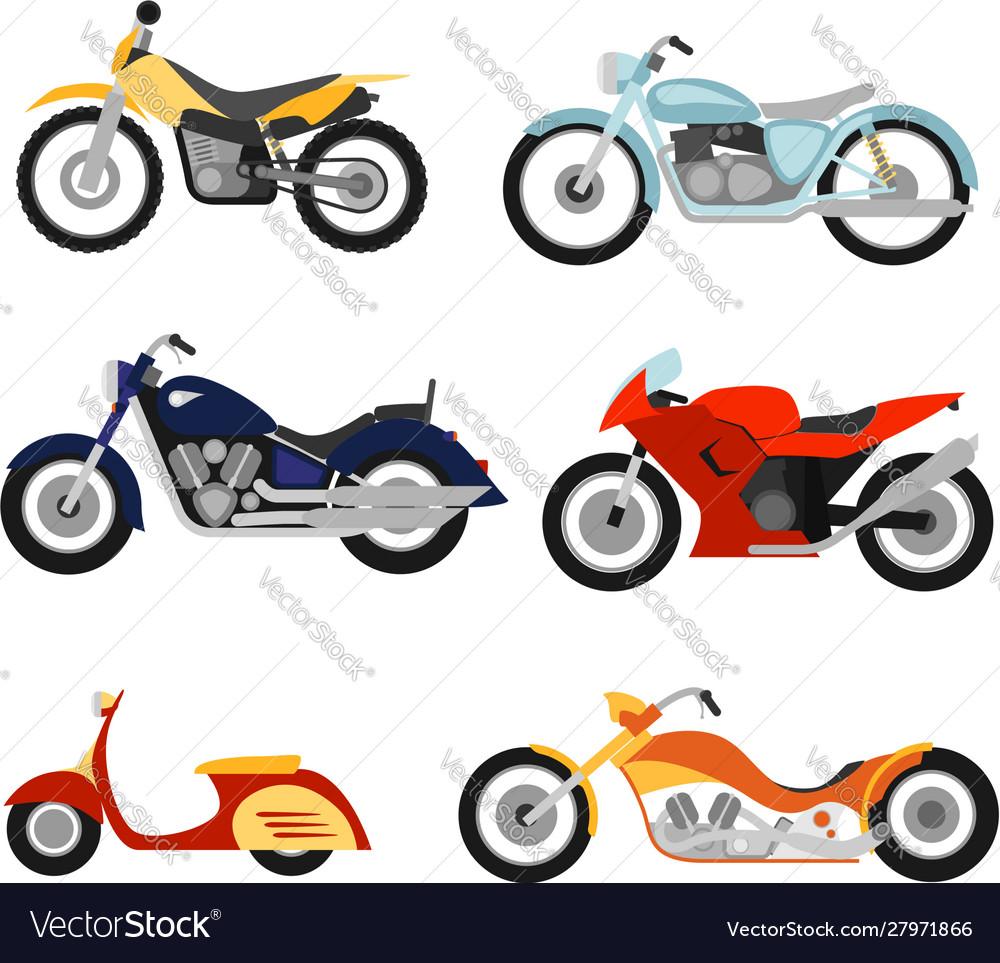 Flat style motorcycles set