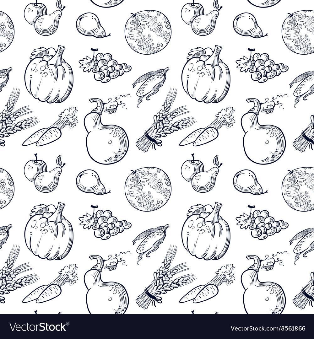 Fruits and vegetablespattern vector image