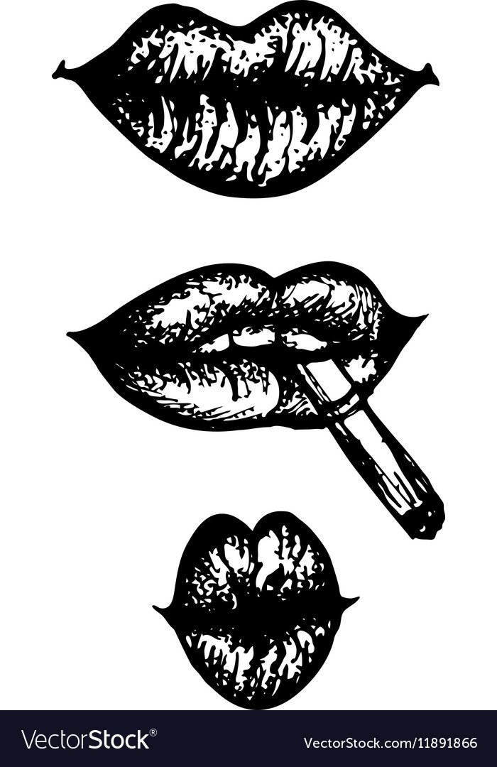 Hand drawn engraving set of lips