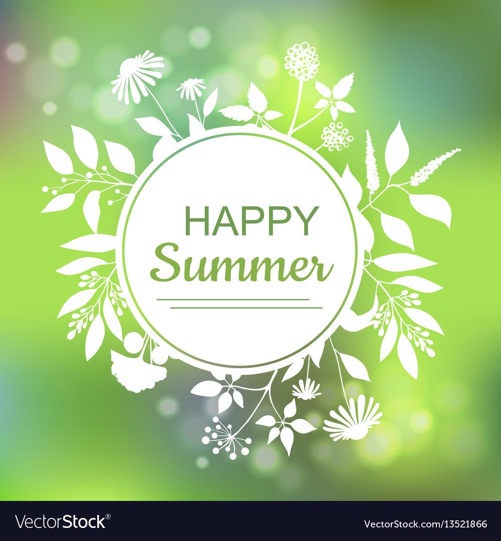 Happy summer green card design