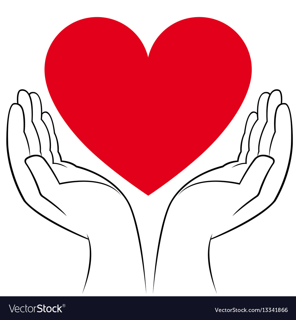 Heart in human hands vector image
