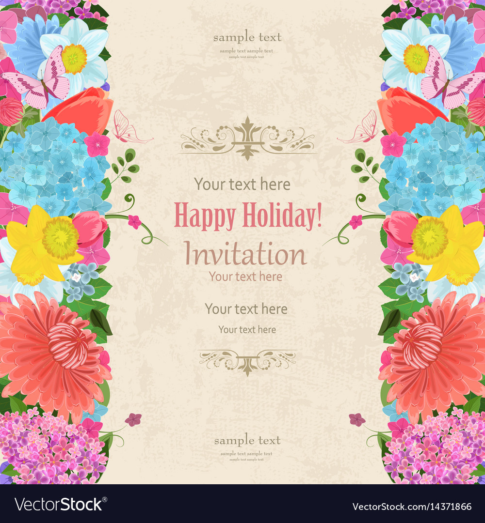 Invitation Card With Elegant Vertical Borders