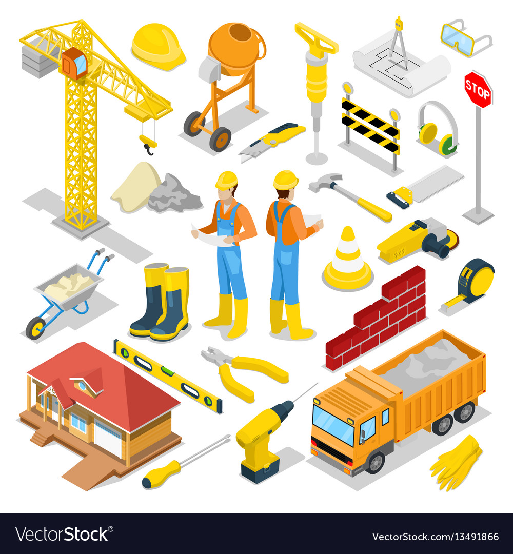 Isometric builder with construction instruments