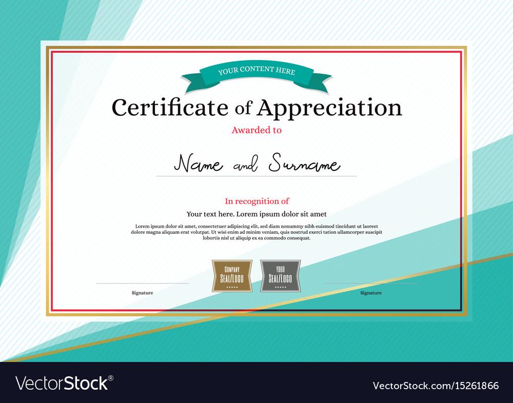 Modern Certificate Appreciation Template On Vector Image