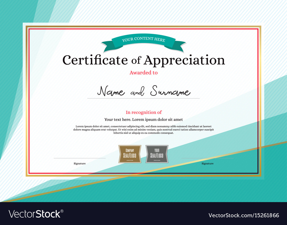 Modern Certificate Of Appreciation Template On Vector Image