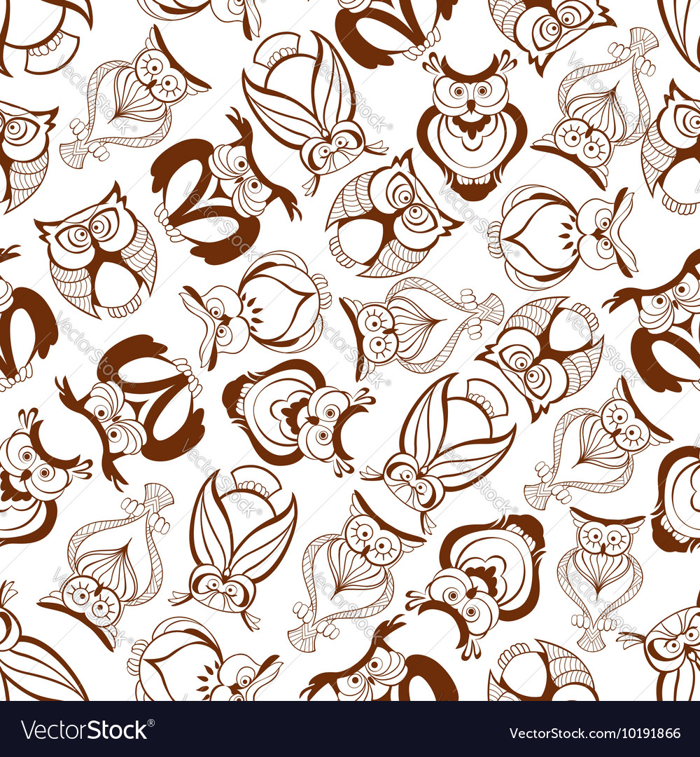Seamless great horned owls pattern background