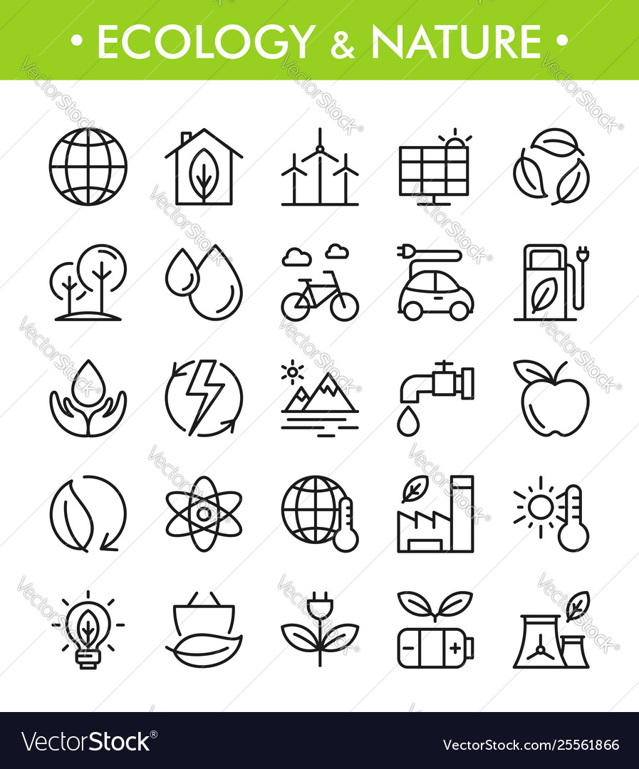 Set ecology and nature icons