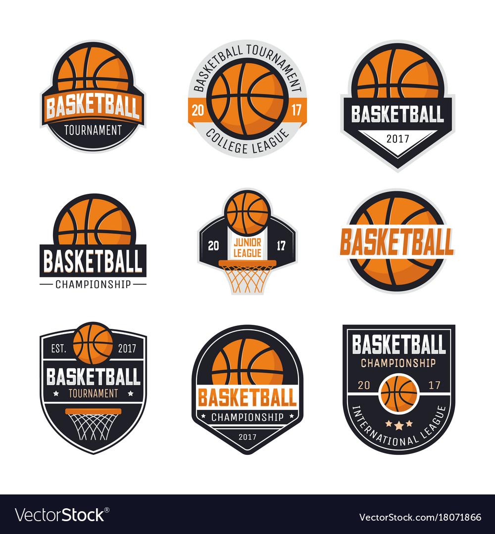 set of basketball logos royalty free vector image