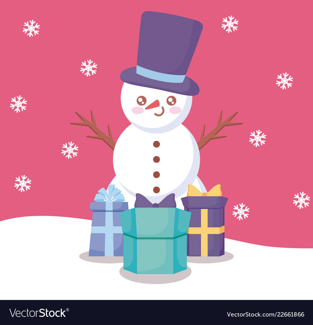 Snowman With Gift Boxes Of Christmas