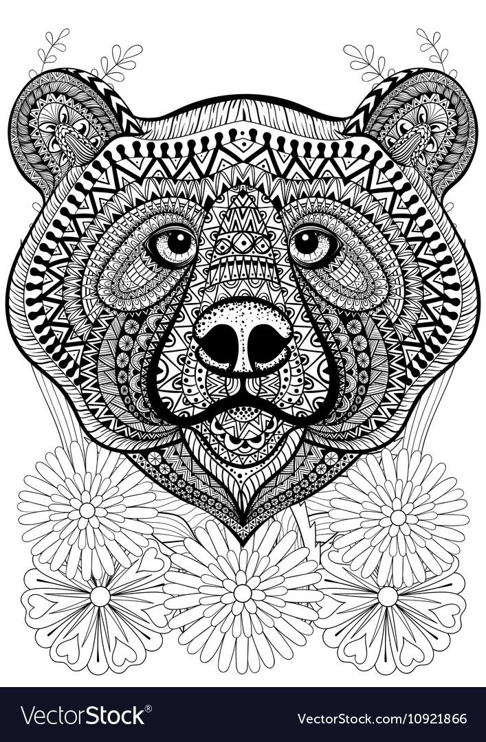 Zentangle stylized bear face on flowers Hand