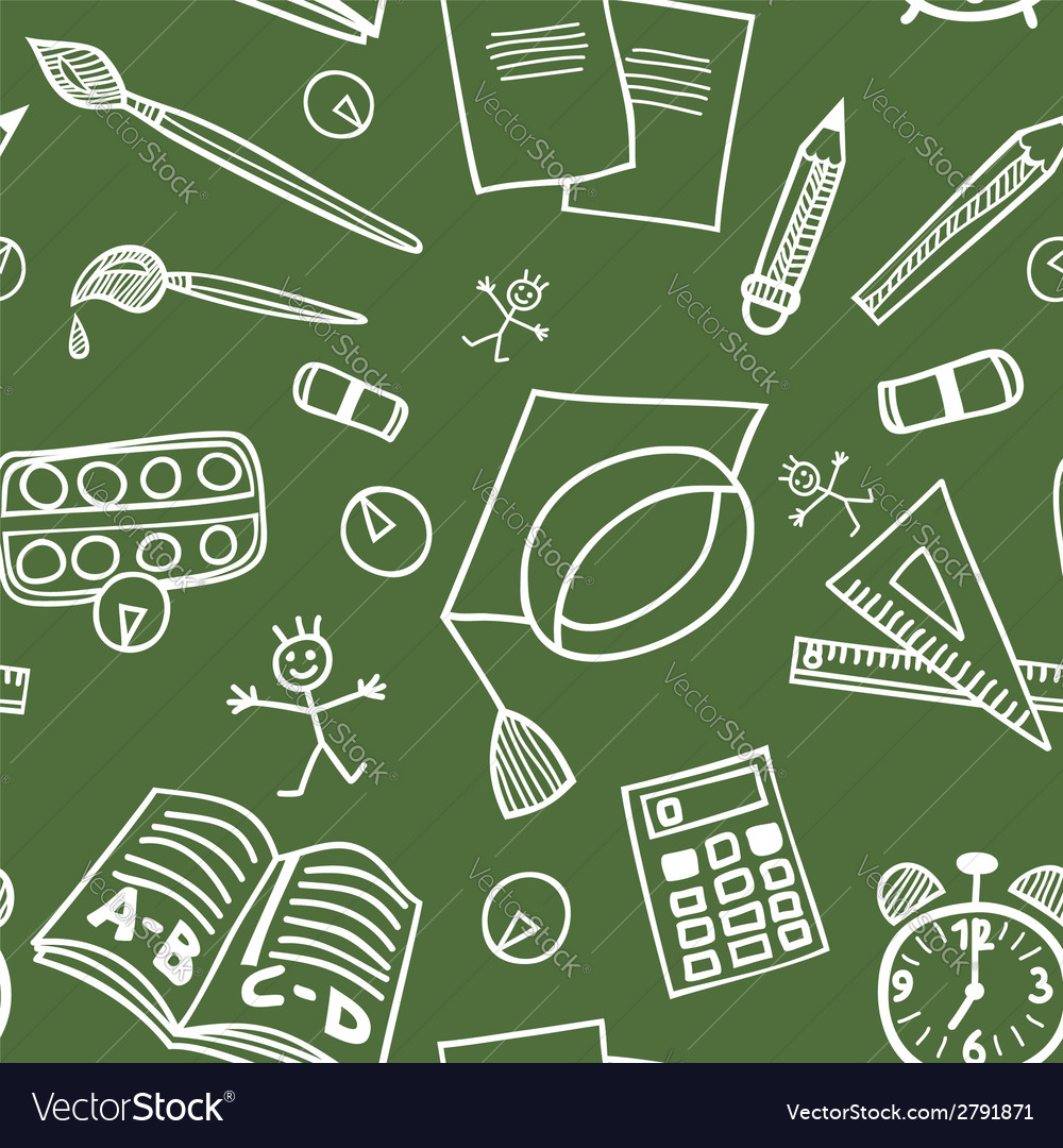 Back to school supplies doodles seamless pattern