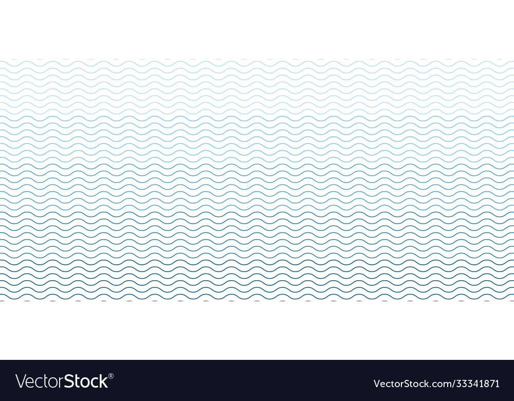 Blue seamless wave line pattern on white