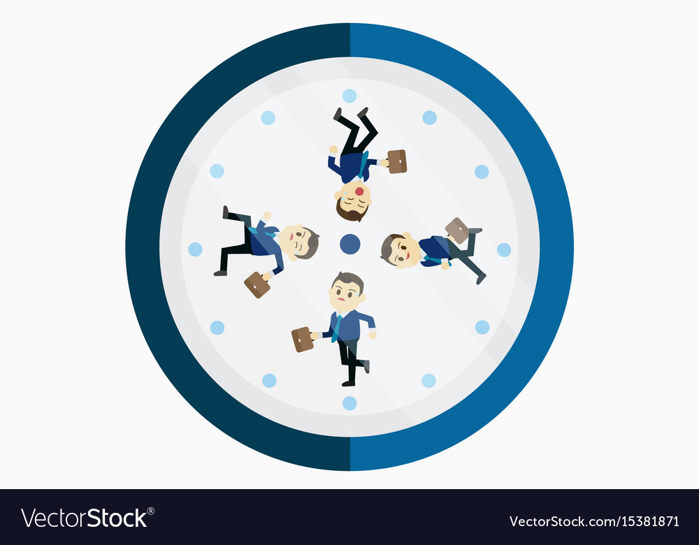 Busy businessman running on the clock