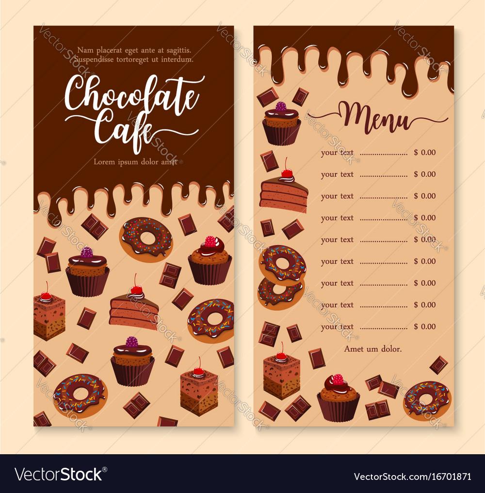 Chocolate Cake And Dessert Menu Template Design Vector Image