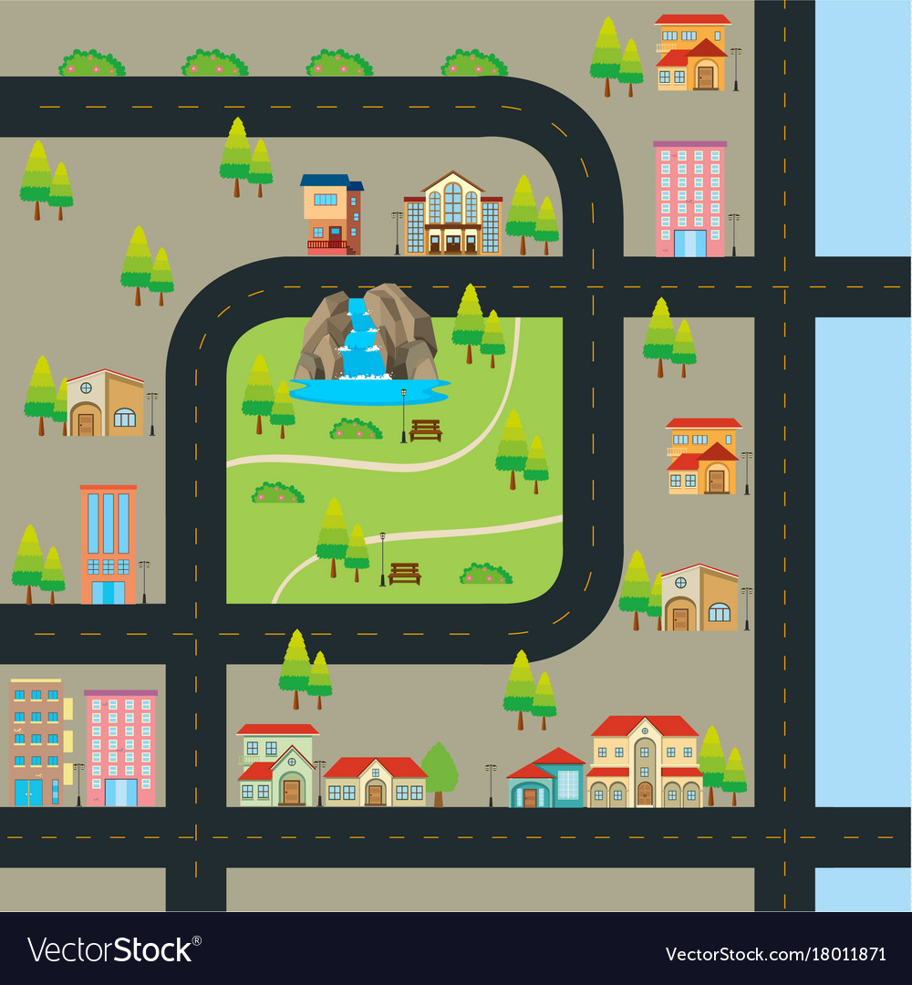 City map with road and many landmarks