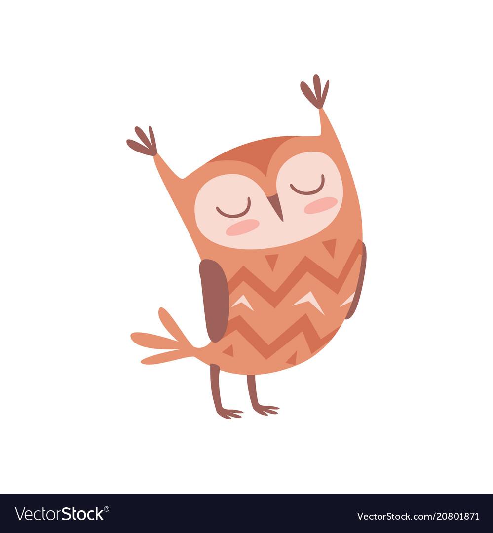 Cute cartoon owlet bird character standing with