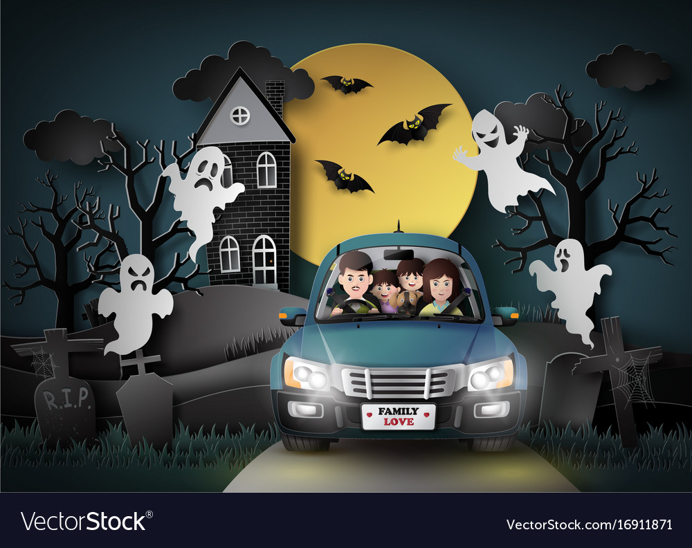 Family driving in car with ghost