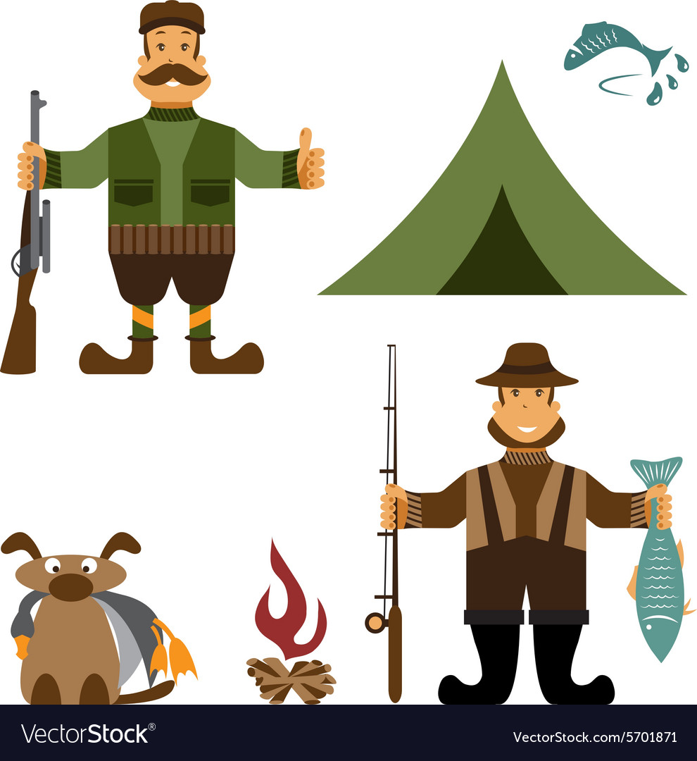 Flat design with fisherman and hunter icons vector image
