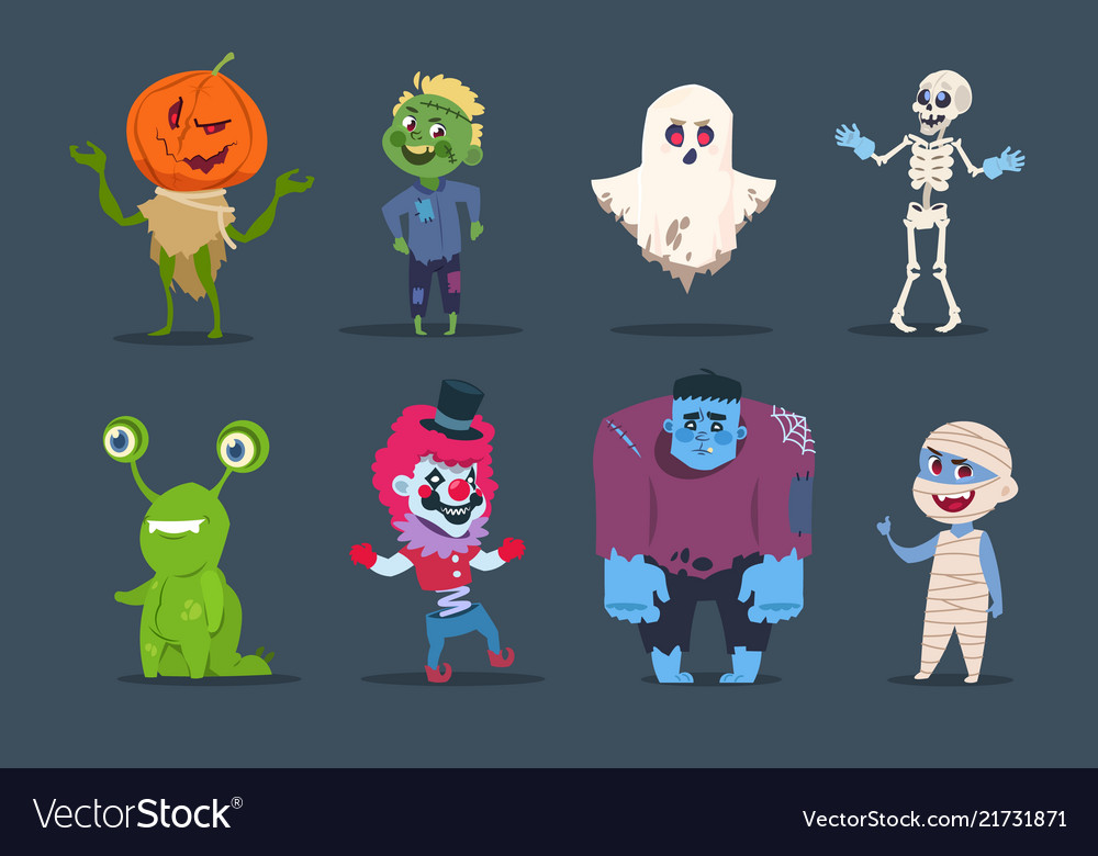 Halloween characters cute monsters and kids